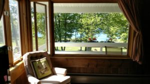Michigamme Marquette County Resort Rental Front Window Lake View